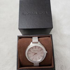 Michael Kors Slim Runway Pave Watch Silver